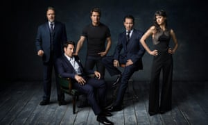 Keep it dark … how Universal announced its monster plan in 2017: from left, Russell Crowe, Javier Bardem, Tom Cruise, Johnny Depp and The Mummy co-star Sofia Boutella.