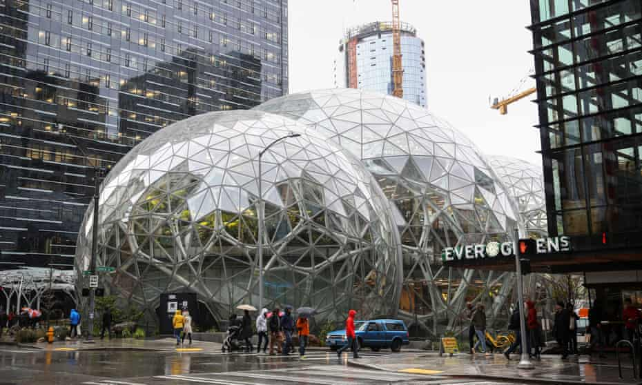 The Amazon Spheres, part of the company's headquarters, are seen from 6th Avenue in Seattle.