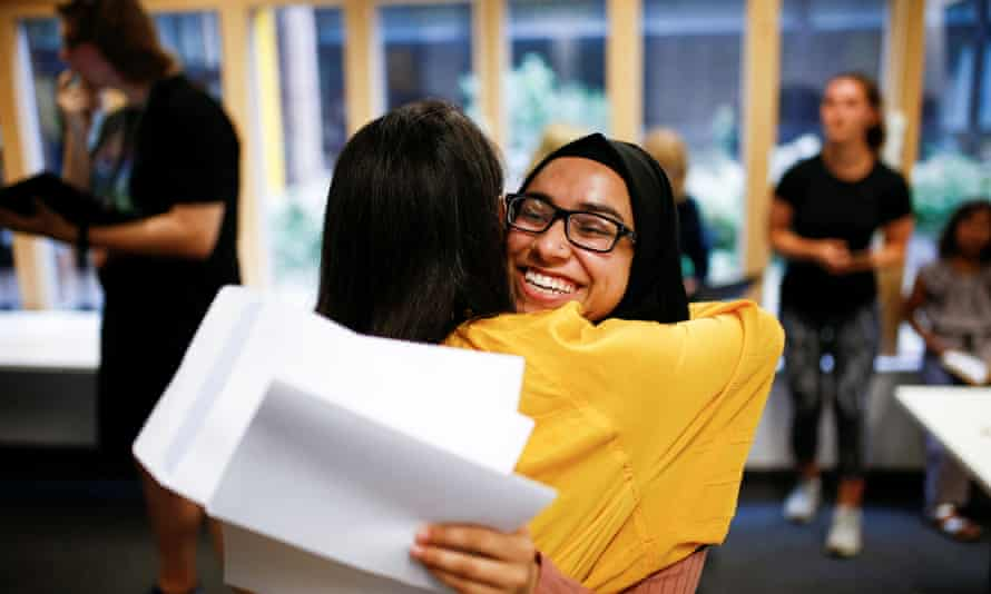 A-level results at Stoke Newington school in London.