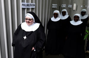 Nuns arrive to vote at a polling station in Hyde Park, London.