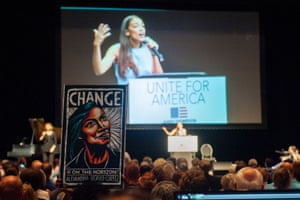 Alexandria Ocasio-Cortez speaks at a campaign event at Century II Performing Arts & Convention Center in Wichita.