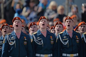 Military personnel sing during the celebrations in Yekaterinburg, Russia