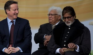 Former prime minister David Cameron on wutg Bollywood actor Amitabh Bachchan during an unveiling ceremony for a new statue of Mahatma Gandhi in 2015.