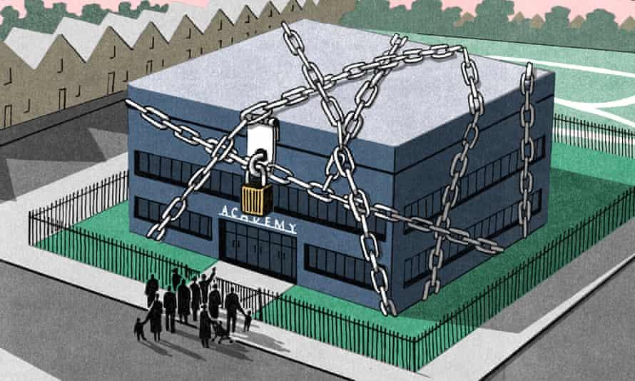 Illustration of school in chains by Bill Bragg