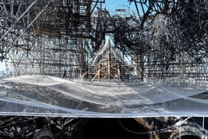 Paris, France. Preliminary work starts on Notre Dame, three months after a fire destroyed the roof and steeple of the 850-year-old Gothic cathedral