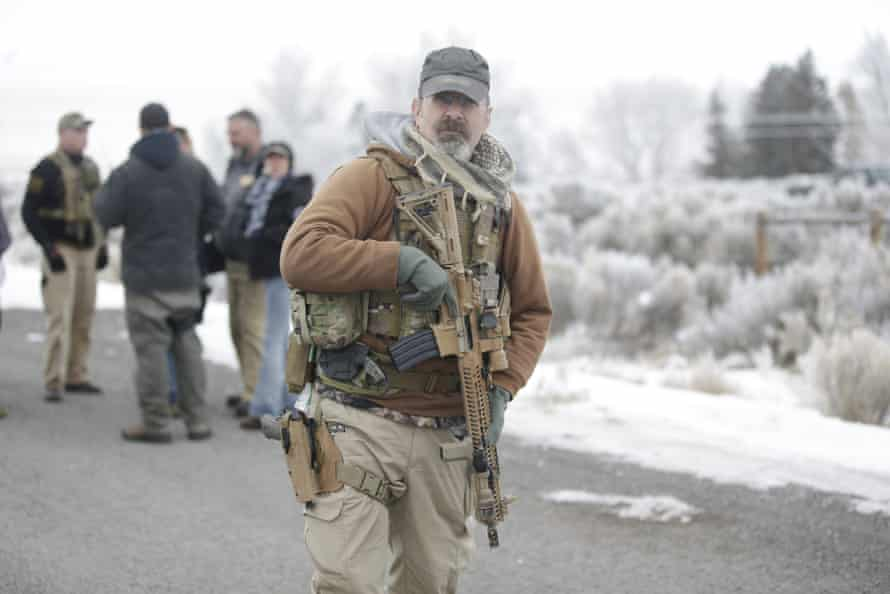 An armed man during the occupation of the Malheur national wildlife refuge in Oregon in 2016.