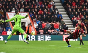 Bournemouth's Joshua King scores the opening goal past Manchester United's goalkeeper David de Gea.