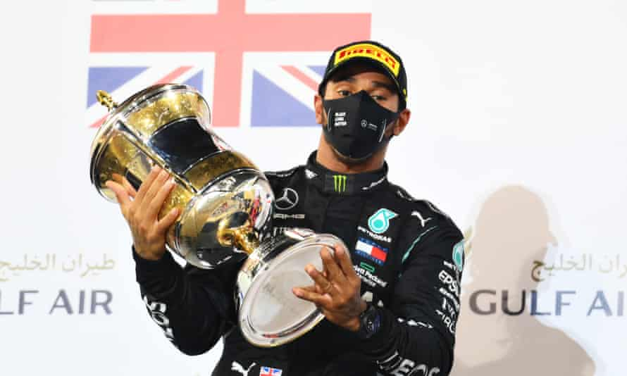 Lewis Hamilton on the podium following the Bahrain Grand Prix last month.