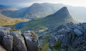 Tryfan and the Ogwen Valley from Glyder Fach.