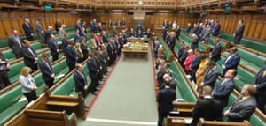 Members of parliament observe 72 seconds of silence in the House of Commons