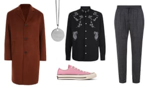 House partyCoat £125, riverisland.com, necklace £115, Alex Orso, wolfandbadger.com, trousers, £49, and shirt, £55, both urbanoutfitters.co.uk, pink Converse, £70, mrporter.com