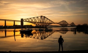 Sunrise behind the Forth Bridge