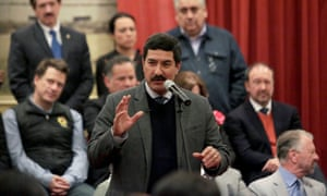 Javier Corral, governor of the state of Chihuahua, speaks during a news conference in Mexico City on 8 January.