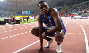 Christian Coleman recovers after winning the 100m in 9.76sec at the 2019 Athletics World Championship