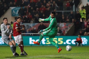 Bristol City's Korey Smith scores their second goal against Manchester United