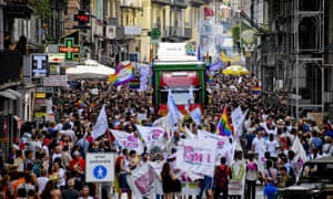 Thousands of people take to the streets in Naples Gay Pride.