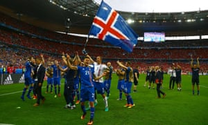 Iceland players celebrate at full time.