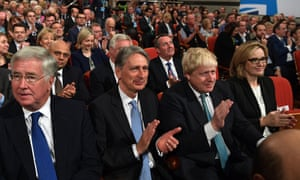 Michael Fallon, Philip Hammond, Boris Johnson and Amber Rudd applauding as Theresa May speaks at last year's Conservative party conference in Birmingham