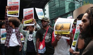 West Papuan activists during a rally in Jakarta last month