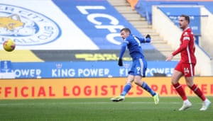 Leicester City's Jamie Vardy hits the crossbar.