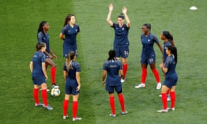 The France team prepare for the match.