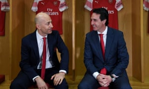 Ivan Gazidis and Unai Emery at the manager's unveiling at the Emirates in May