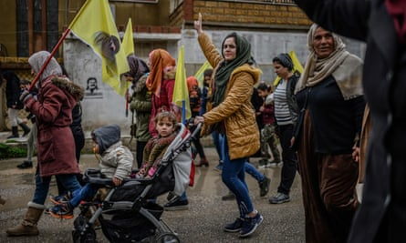 A rally in support of Kurdish leader Abdullah Ocalan in Qamishli in February.