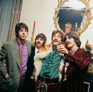 The Beatles at manager Brian Epstein's home for the launch of Sgt Pepper's Lonely Hearts Club Band in London, 19 May 1967.
