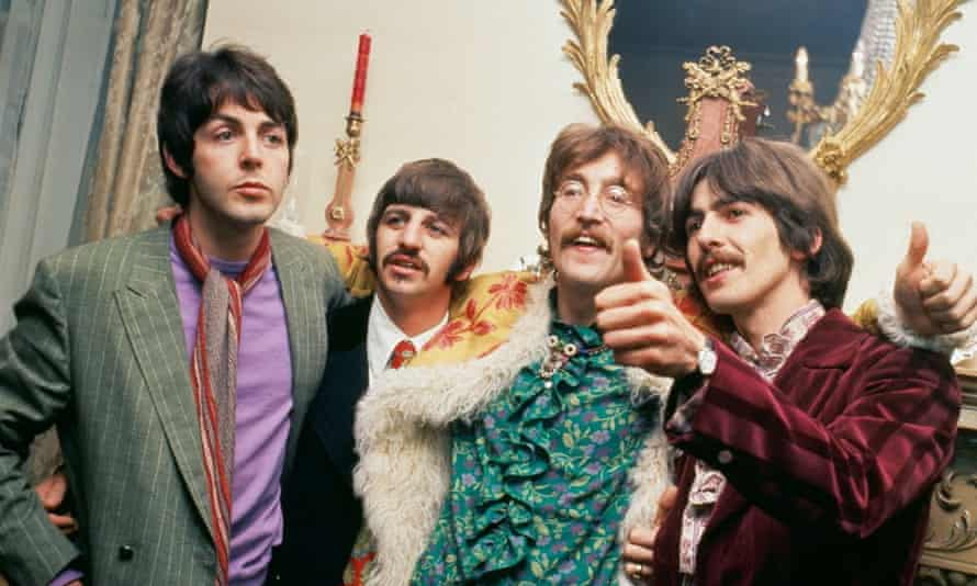 Pop philosophers for uncertain times … The Beatles at the launch of Sgt Pepper's Lonely Hearts Club Band in 1967.
