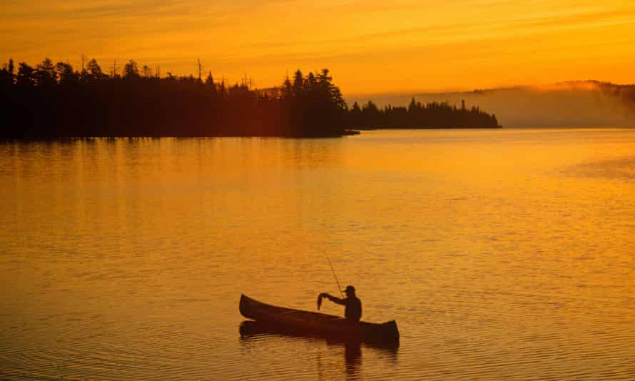 Fishing at sunrise on the Boundary Waters canoe area