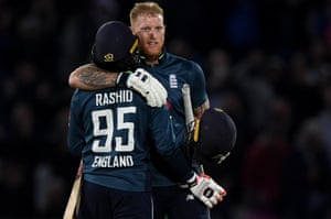 Stokes celebrates with Rashid after winning the match for England.