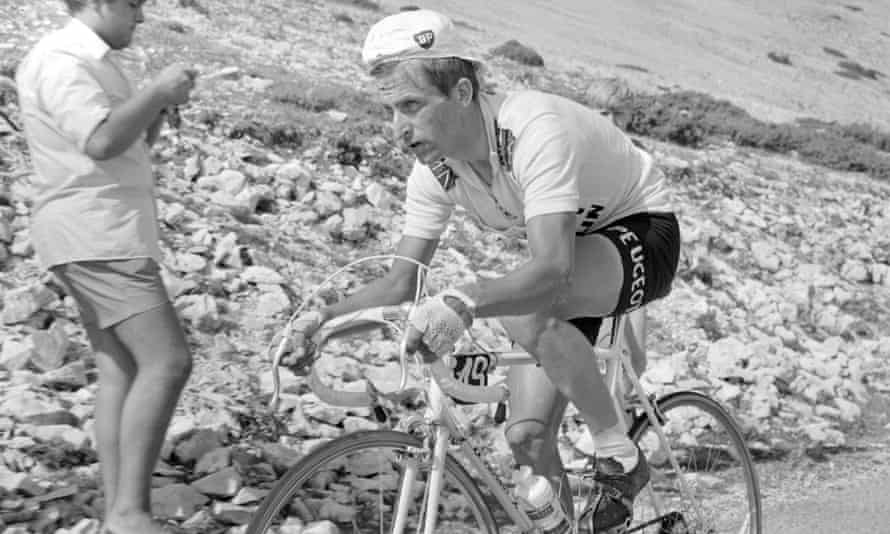 Tom Simpson during the 1967 Tour de France, during which the British rider died on the ascent of Mont Ventoux on 13 July 1967.