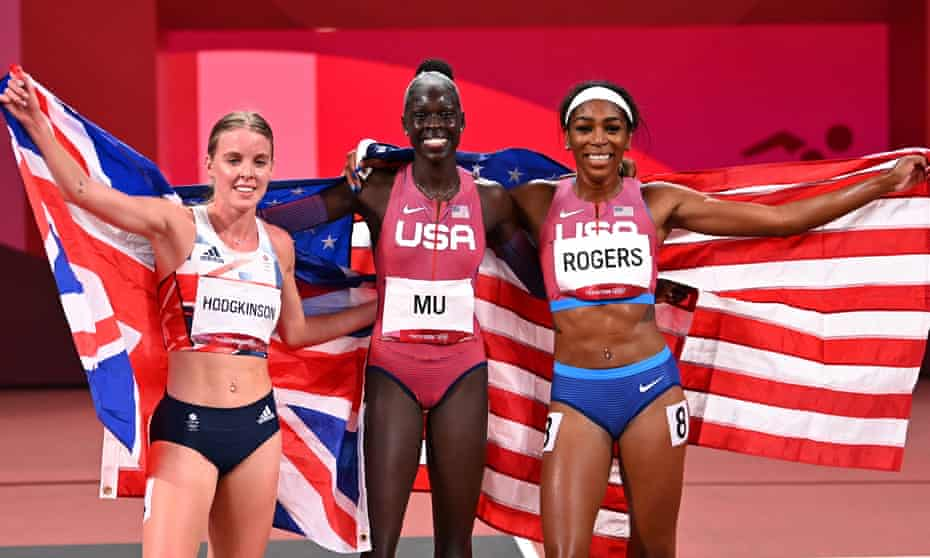 Athing Mu (gold), Keely Hodgkinson (silver) and Raevyn Rogers (bronze) celebrate after the women's 800m