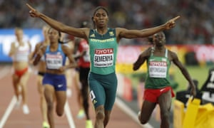 South Africa's Caster Semenya celebrates after winning the 800m final at the 2017 world championships in London.