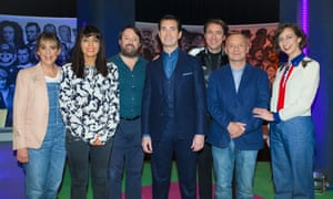 Big Fat Quiz of Everything: left to right, Mel Giedroyc, Claudia Winkleman, David Mitchell, Jimmy Carr, Jonathan Ross, Bob Mortimer and Kristen Schaal.
