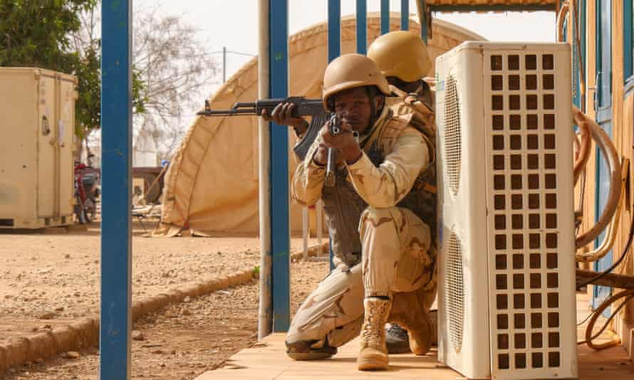 Burkinabé soldiers on a military training exercise outside Ouagadougou in March 2019