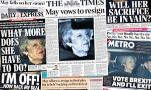 The UK papers after PM May offered her resignation to convince Brexit rebels to back her latest deal.