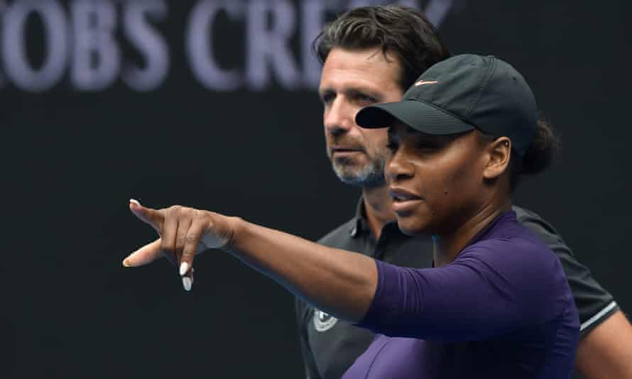 Serena Williams talks with her coach Patrick Mouratoglou during the 2017 Australian Open