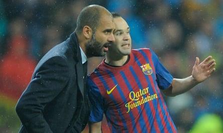 Pep Guardiola and Andrés Iniesta