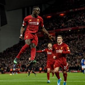 Liverpool's Sadio Mane celebrates after scoring their fourth goal against Everton.