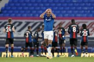 Dominic Calvert-Lewin of Everton reacts to the goal.