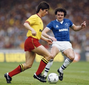 Nigel Callaghan takes on Everton's John Bailey in the FA Cup final.