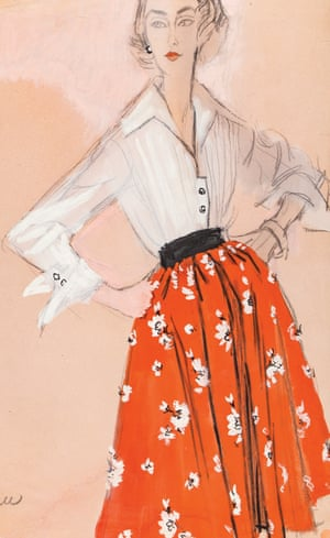 Full red skirt with flowers, and white blouse, circa 1960.