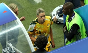 Alanna Kennedy makes her way off the field.