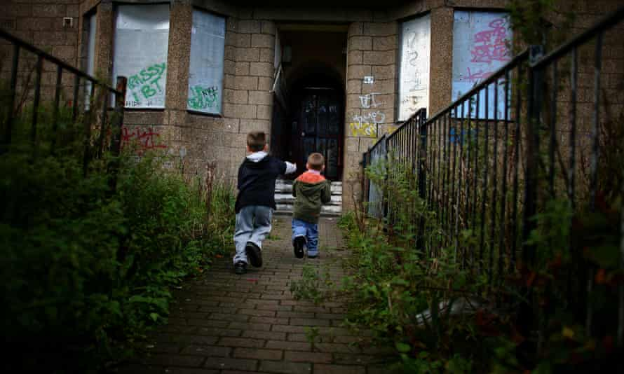 Two boys at play in Govan, Glasgow.