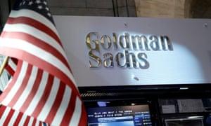 Goldman Sachs stall on the floor of the New York Stock Exchange