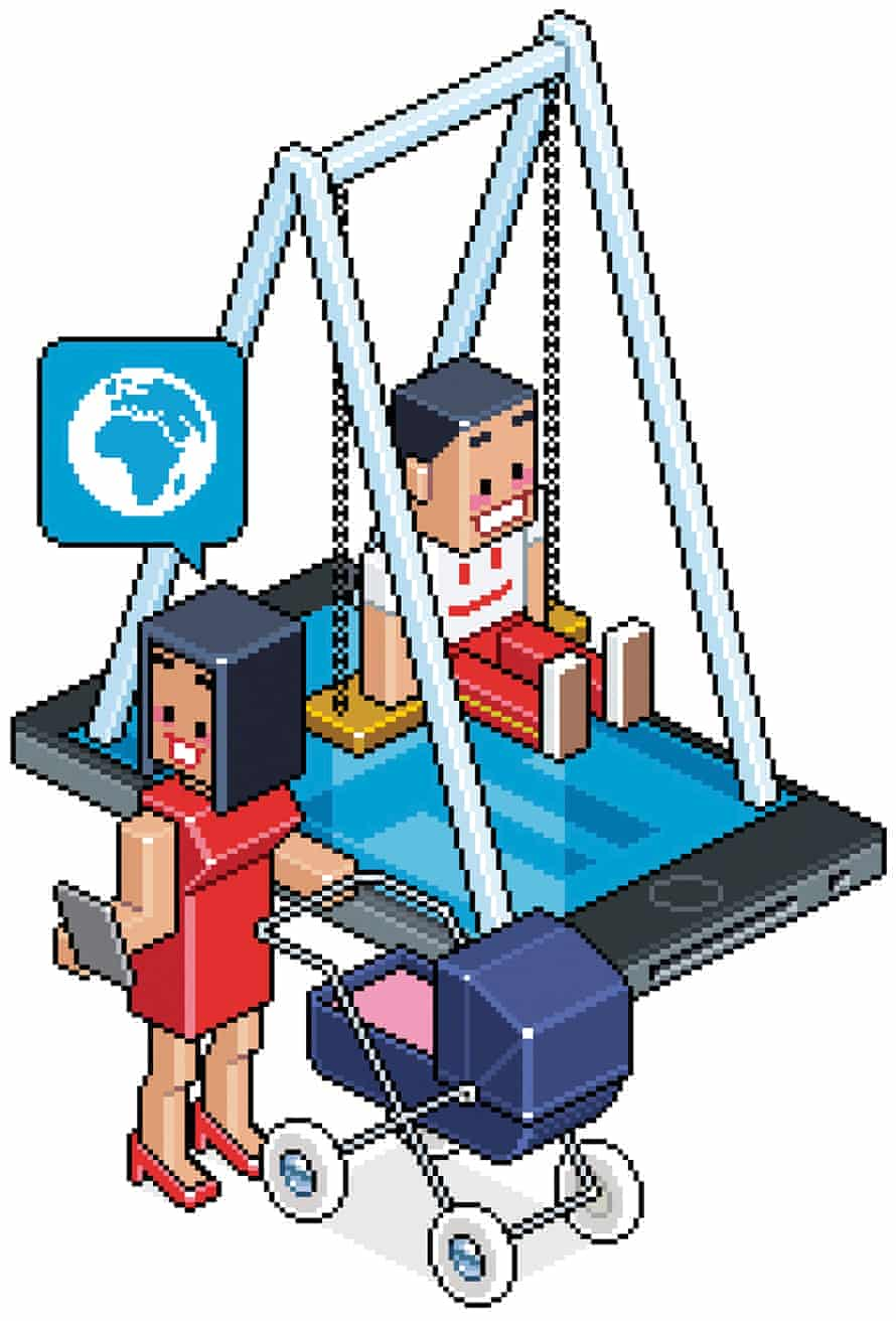 Illustration of a playground-finding app