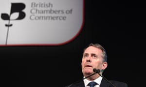 Liam Fox delivers a speech at the British Chambers of Commerce in central London.
