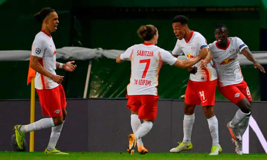 Tyler Adams celebrates with his RB Leipzig teammates