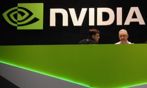 People gather in the Nvidia booth at the Mobile World Congress